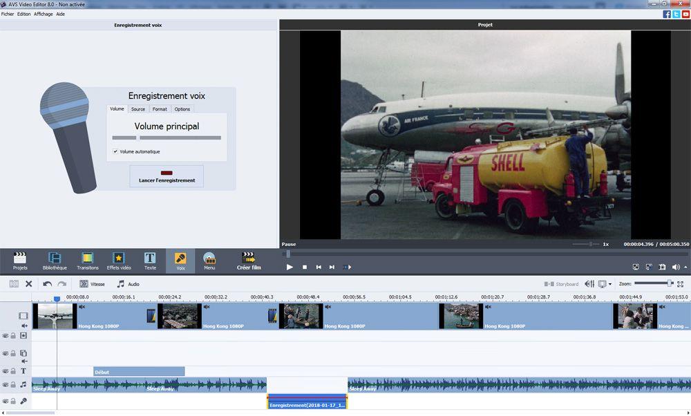 logiciel montage video avs video editor enregistrement audio voix